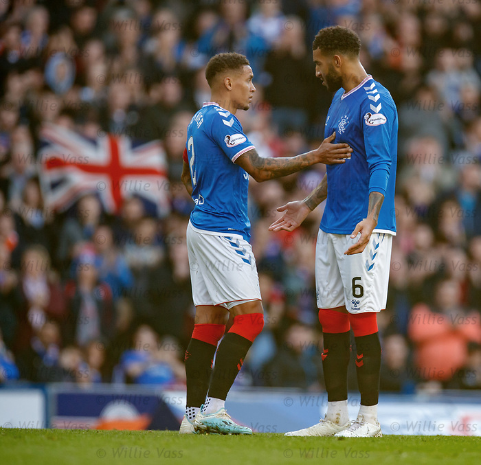 28.09.2018 Rangers v Aberdeen: James Tavernier and Connor Goldson discuss tactics
