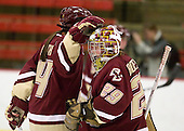 Katelyn Kurth (BC - 14), Corinne Boyles (BC - 29) - The Harvard University Crimson defeated the Boston College Eagles 5-0 in their Beanpot semi-final game on Tuesday, February 2, 2010 at the Bright Hockey Center in Cambridge, Massachusetts.