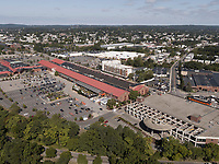 aerial view of Arsenal Mall, Charles River, Watertown, MA