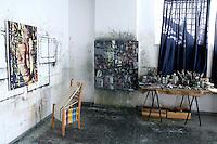 art studio with artworks