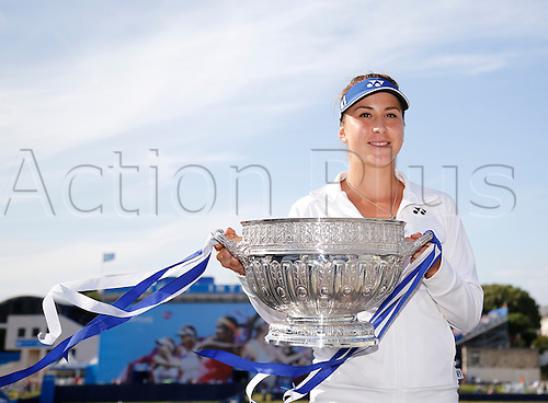 27.06.2015 Eastbourne, England. Aegon International Eastbourne Tennis Tournament Belinda Bencic (SUI) with her winners trophy after winning her Women's single final against Radwansk  at Devonshire park.