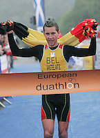 16 JUN 2007 - EDINBURGH, UK - Benny Vansteelant (BEL) wins the Elite Mens race - EUROPEAN ELITE MENS DUATHLON CHAMPIONSHIPS. (PHOTO (C) NIGEL FARROW)