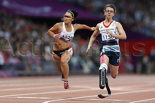 01.09.2012 London, England. womens 100m t-44 heat 1/2 S Kamlish (GBR) S Verduijn (NED) J Wang (CHN) in action during Day 3 of the London 2012 Paralympic Games at the Olympic Staduim in Stratford