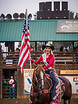 Ivana Kursar, Opening and the U.S. Flag at the start of the rodeo during Saturday night at the 80th Amador County Fair, Plymouth, Calif.<br /> .<br /> .<br /> .<br /> .<br /> #AmadorCountyFair, #1SmallCountyFair, #PlymouthCalifornia, #TourAmador, #VisitAmador