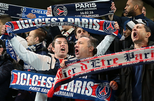 09.03.2016. Stamford Bridge, London, England. Champions League. Chelsea versus Paris Saint Germain. PSG fans sing prior to kick off