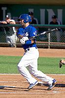 Julian Leon (34) of the Ogden Raptors at bat against the Grand Junction Rockies on June 19, 2014 at Lindquist Field in Ogden, Utah. (Stephen Smith/Four Seam Images)