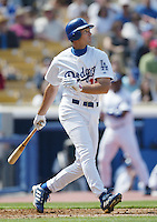 Shawn Green of the Los Angeles Dodgers bats during a 2002 MLB season game at Dodger Stadium, in Los Angeles, California. (Larry Goren/Four Seam Images)