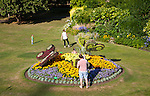 Floral display of butterflies in Parade Gardens public park in city centre of Bath, Somerset, England, UK