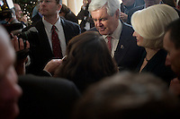 Former Speaker of the House Newt Gingrich and his wife Callista leave after Newt Gingrich spoke to the Nashua Rotary Club at the Nashua Country Club in Nashua, New Hampshire, on Jan. 9, 2012.  Gingrich is seeking the 2012 Republican presidential nomination.