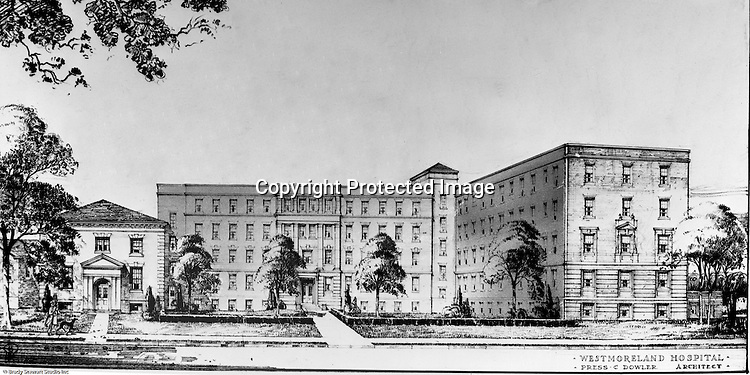 Pittsburgh PA:  View of another Ingham and Boyd architect's drawing of the proposed Westmoreland Hospital - 1947.
