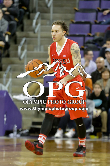 DEC 22, 2015:  Seattle University's Malik Montoya against Washington. Washington defeated Seattle University 79-68 at Alaska Airlines Arena in Seattle, WA.