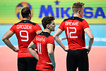 14.09.2019, Paleis 12, BrŸssel / Bruessel<br />Volleyball, Europameisterschaft, Deutschland (GER) vs. Belgien (BEL)<br /><br />Georg Grozer (#9 GER), Lukas Kampa (#11 GER), Anton Brehme (#12 GER) enttŠuscht / enttaeuscht / traurig <br /><br />  Foto © nordphoto / Kurth