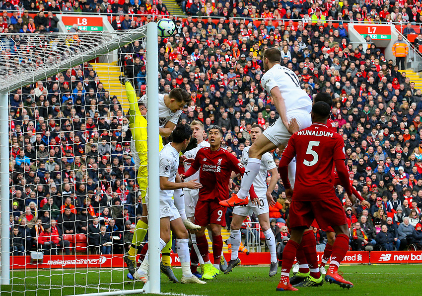 Burnley's Ashley Westwood's corner beats everyone to make the score 1-0<br /> <br /> Photographer Alex Dodd/CameraSport<br /> <br /> The Premier League - Liverpool v Burnley - Sunday 10th March 2019 - Anfield - Liverpool<br /> <br /> World Copyright © 2019 CameraSport. All rights reserved. 43 Linden Ave. Countesthorpe. Leicester. England. LE8 5PG - Tel: +44 (0) 116 277 4147 - admin@camerasport.com - www.camerasport.com