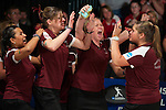 14 APR 2012: The University of Maryland Eastern Shore team celebrates a strike during the Division I Womens Bowling Championship held at Freeway Lanes in Wickliffe, OH.  The University of Maryland Eastern Shore defeated Fairleigh Dickinson 4-2 to win the national title.  Jason Miller/NCAA Photos