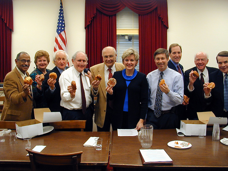 Paczki Day in D.C..Rep. John Conyers (D/MI-14), Sen. Debbie Stabenow (D), Rep. Sander Levin (D/MI-12), Sen. Carl Levin (D), Rep. John Dingell (D/MI-15), Michigan Governor Jennifer Granholm (D), Rep. Fred Upton (R/MI-6), Rep. Dave Camp (R/MI-4), Rep. Vernon Ehlers (R/MI-3) and Rep. Dale Kildee (D/MI-5) celebrate Fat Tuesday on Capitol Hill with a Michigan favorite, the Paczki, following a bipartisan meeting of the Michigan delegation. Congressman Dingell had the popular Polish pastry brought in from Michigan for the occasion.