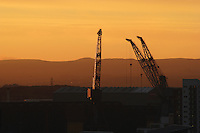 Cranes at Dusk, Glasgow<br /> <br /> Copyright www.scottishhorizons.co.uk/Keith Fergus 2011 All Rights Reserved