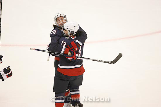 Trent Nelson  |  The Salt Lake Tribune.USA's Meghan Duggan (left) and USA's Julie Chu celebrate Duggan's first period goal that put USA up 2-0. USA vs. Sweden, women's hockey, at the XXI Olympic Winter Games in Vancouver, Monday, February 22, 2010.