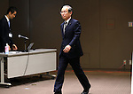 October 18, 2016, Tokyo, Japan - Japan's troubled electronics giant Toshiba president Satoshi Tsunakawa enters a conference room to speak before press at a press conference at the company's headquarters in Tokyo on Tuesday, October 18, 2016. Toshiba announced the company's revised technology strategy with the company still recovering from a big loss due to an accounting scandal.   (Photo by Yoshio Tsunoda/AFLO) LWX -ytd-