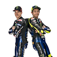 Maverick Vinales, Valentino Rossi <br /> 2019 MONSTER ENERGY YAMAHA MOTOGP TEAM PRESENTATION <br /> 14/01/2019<br /> Foto Yamaha Press Office / Insidefoto <br /> Editorial Use Only