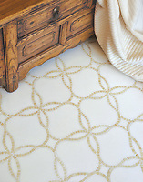 Waverly, a natural stone waterjet and hand cut mosaic shown in Crema Marfil and Thassos, is part of the Silk Road Collection by Sara Baldwin for New Ravenna Mosaics. Take the next step: prices, samples and design help, http://www.newravenna.com/showrooms/