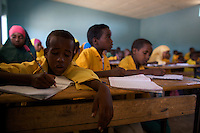Children attend class in the compound of the Cluster resource Center of Lafaissa, Somali Region, Ethiopia on Monday November 9 2009. .The Lafaissa facility is supported by the British non governmental organization Save the Children UK..