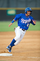 Jose Martinez (2) of the Burlington Royals rounds third base against the Danville Braves at Burlington Athletic Park on July 12, 2015 in Burlington, North Carolina.  The Royals defeated the Braves 9-3. (Brian Westerholt/Four Seam Images)