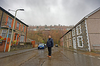 Pictured: Russell Cameron stands in Station Road which was flooded by Rhondda river in Porth. Wednesday 04 March 2020<br /> Re: Revisiting the flood affected areas in Pontypridd, Wales, UK.