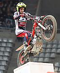 10.02.2013. Barcelona, Spain. FIM X Trial World Championship. Picture show Jeroni Fajardo riding Beta in action during GP of Catalunya at Palau St. Jordi
