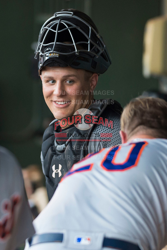 AFL East catcher Daulton Varsho (8), of the Salt River Rafters and the Arizona Diamondbacks organization, in the dugout during the Arizona Fall League Fall Stars game at Surprise Stadium on November 3, 2018 in Surprise, Arizona. The AFL West defeated the AFL East 7-6 . (Zachary Lucy/Four Seam Images)