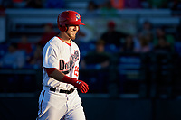Auburn Doubledays first baseman Matt Skole (25) walks back to the dugout after hitting a home run in the bottom of the first inning during a game against the Connecticut Tigers on August 8, 2017 at Falcon Park in Auburn, New York.  Auburn defeated Connecticut 7-4.  (Mike Janes/Four Seam Images)