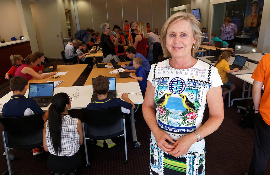 CoderDoJo, a volunteer led coding club for kids in which they learn how to code. One of the WA chapters in held at Woodsides' Perth HQ. Annie Fogarty, whose foundation supports CoderDoJo. photo by Trevor Collens 8/12/2016