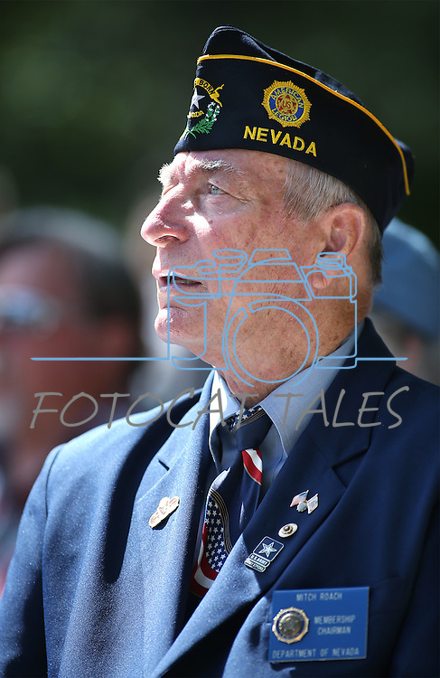 Mitch Roach listens to the 2016 Flag Day &amp; Army Birthday ceremony at the Capitol in Carson City, Nev., on Tuesday, June 14, 2016.<br />