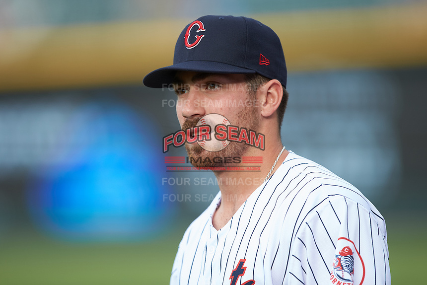 Danny Mendick (17) of the Charlotte Hornets prior to the game against the Louisville Bats at BB&T BallPark on June 22, 2019 in Charlotte, North Carolina. The Hornets defeated the Bats 7-6. (Brian Westerholt/Four Seam Images)