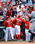 5 August 2007: Washington Nationals third baseman Ryan Zimmerman (11) is congratulated by teammates after scoring against the St. Louis Cardinals at RFK Stadium in Washington, DC. The Nationals defeated the Cardinals 6-3 to sweep their 3-game series...Mandatory Photo Credit: Ed Wolfstein Photo