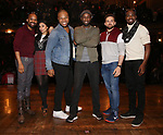 Antuan Magic Raimone, Lauren Boyd, Sean Green Jr., Justin Dine Bryant, Donald Webber and Neil Haskell during the eduHAM Q & A with the cast of Broadway's 'Hamilton' at The Richard Rodgers Theatre on April 25, 2018 in New York City.