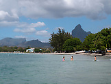MAURITIUS, kids swimming in Tamarin Bay in the town of, Tamarin, Indian Ocean