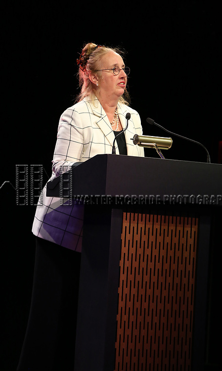 Gale Brewer  on stage at the Stage Directors and Choreographers Foundation event honoring Julie Taymor with the Mr. Abbott Award at the Bohemian National Hall on April 2, 2018 in New York City.