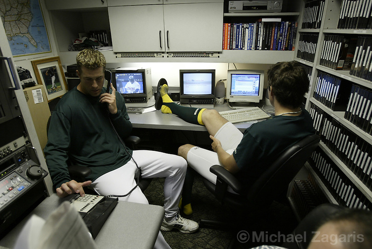 OAKLAND, CA - JULY 5:  Mark Mulder and Barry Zito at the Network Assoc. Colisieum on July 5, 2003 in Oakland, Calif. The Angels defeated the Athletics 6-3. ....(Photo by Michael Zagaris/MLB Photos)
