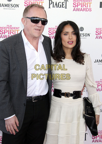 Francois-Henri Pinault, Salma Hayek.2013 Film Independent Spirit Awards - Arrivals Held At Santa Monica Beach, Santa Monica, California, USA,.23rd February 2013..indy indie indies indys half length married husband wife dress black grey gray jacket sunglasses shades shirt white cream belt.CAP/ADM/RE.©Russ Elliot/AdMedia/Capital Pictures