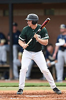 Center fielder Russell Schwertfeger (11) of the University of South Carolina Upstate Spartans in a game against the Pittsburgh Panthers on Saturday, February 24, 2018, at Cleveland S. Harley Park in Spartanburg, South Carolina. Pittsburgh won, 3-1. (Tom Priddy/Four Seam Images)