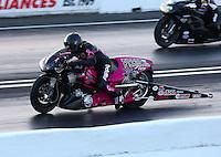 May 30, 2014; Englishtown, NJ, USA; NHRA pro stock motorcycle rider Junior Pippin during qualifying for the Summernationals at Raceway Park. Mandatory Credit: Mark J. Rebilas-