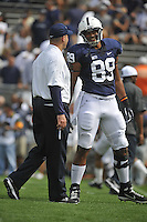 01 September 2012:  Penn State coach Bill O'Brien talks with jokes around with TE Garry Gilliam (89) during warm ups.  The Ohio Bobcats defeated the Penn State Nittany Lions 24-14 at Beaver Stadium in State College, PA..