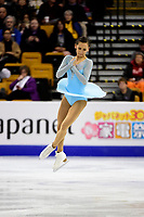 Thursday, March 31, 2016: Anne Line Gjersem (NOR) competes in the Ladies Short Program at the International Skating Union World Championship held at TD Garden, in Boston, Massachusetts. Eric Canha/CSM
