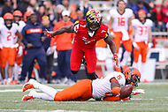 College Park, MD - October 27, 2018: Maryland Terrapins defensive back Tino Ellis (7) during the game between Illinois and Maryland at  Capital One Field at Maryland Stadium in College Park, MD.  (Photo by Elliott Brown/Media Images International)