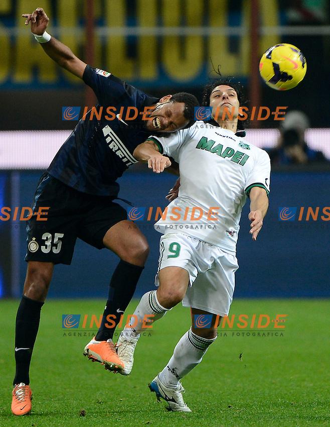 Rolando Inter, Sergio Floccari Sassuolo<br /> Milano 09-02-2014 Stadio Giuseppe Meazza - Football 2013/2014 Serie A. Inter - Sassuolo Foto Giuseppe Celeste / Insidefoto