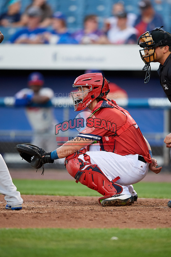 Syracuse Chiefs catcher Taylor Gushue (18) waits to receive a pitch during a game against the Buffalo Bisons on September 2, 2018 at NBT Bank Stadium in Syracuse, New York.  Syracuse defeated Buffalo 4-3.  (Mike Janes/Four Seam Images)