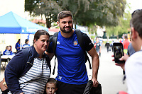 Elliott Stooke of Bath Rugby poses for a photo with supporters. Gallagher Premiership match, between Bath Rugby and Gloucester Rugby on September 8, 2018 at the Recreation Ground in Bath, England. Photo by: Patrick Khachfe / Onside Images