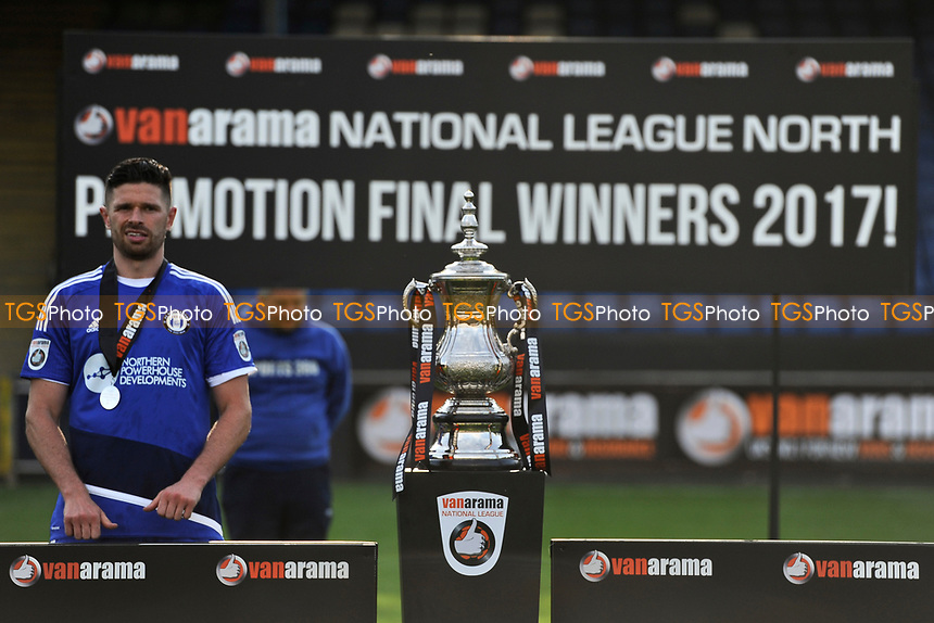 Scott Garner of FC Halifax Town waits to lift the trophy during FC Halifax Town vs Chorley, Vanarama National League North Football at The Shay on 13th May 2017