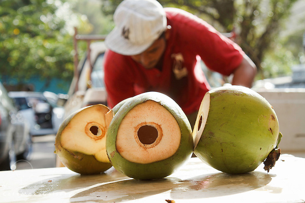 Farmer's Market - green coconut  already cut and water drunk - Diego Martin