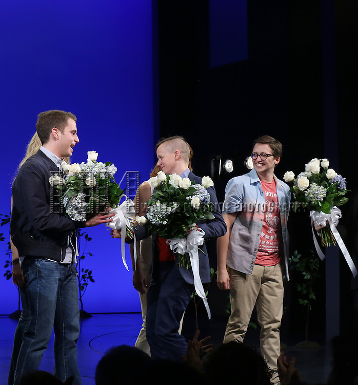 Ben Platt and Will Roland during the Broadway Opening Night Performance Curtain Call for 'Dear Evan Hansen'  at The Music Box Theatre on December 3, 2016 in New York City.